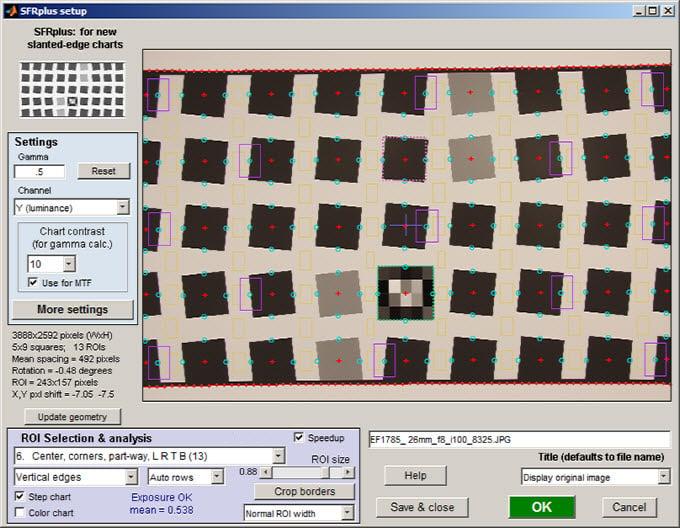 Imatest SFR test chart shown on computer screen [#]
