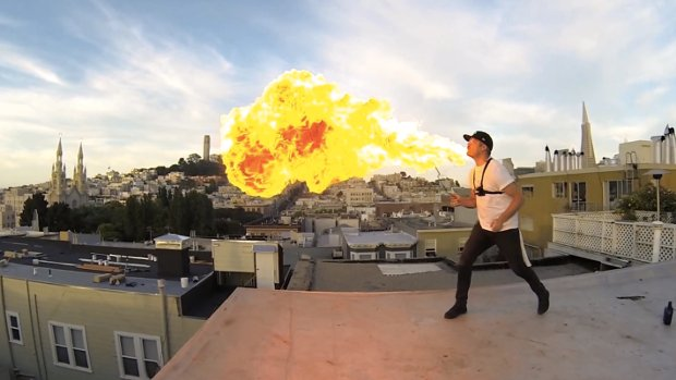 Fire-Breathing Made Even More Epic with 24-GoPro Bullet Time Rig