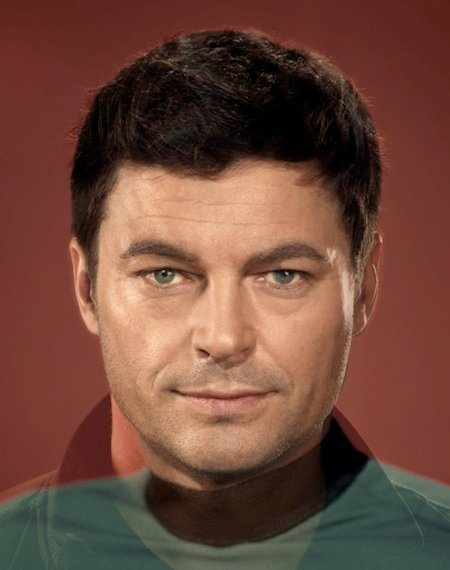 "DeForest Kelly and Karl Urban as Leonard ""Bones"" McCoy"