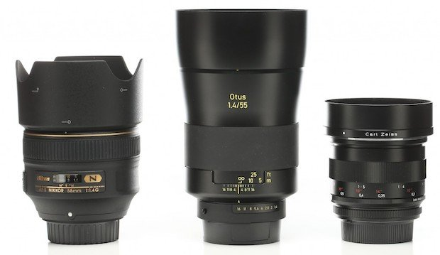 Left to right: Nikon 58mm f/1.4 G, Zeiss 55mm f/1.4 Otus, Zeiss 50mm f/2 Makro Planar