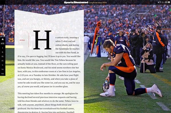 "Sports Illustrated ""Longform"" style"