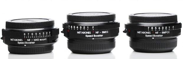 Speedboosters (left to right) for micro 4/3, Blackmagic cinema, and Blackmagic Pocket Cinema cameras.