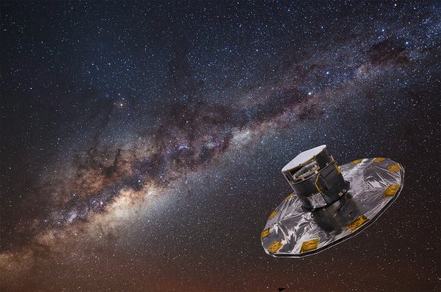 Photo illustration of Gaia with the Milky Way in the background.