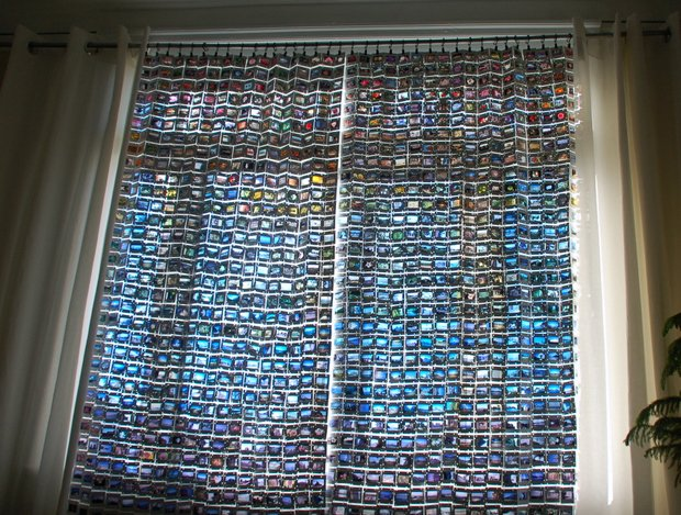 diy idea upcycler turns old 35mm slides into colorful curtains