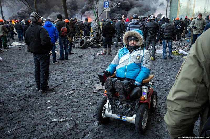 "One of the protesters. Russian press usually describes the participants of Maidan as ""extremists, radical thugs, ultras, members of nationalistic groups, motley nationalist, sometimes openly Nazist public, extremist militants, rioters, pogromists, rebels"" etc..."