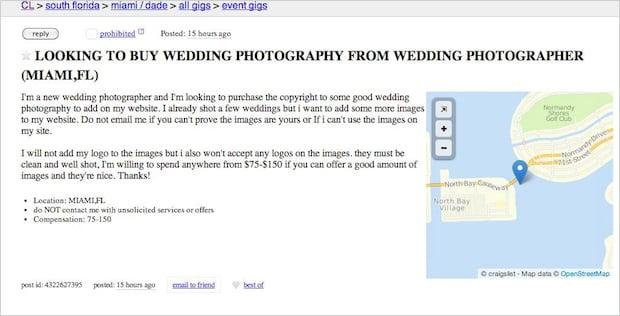 Rant: Wedding Photographer Wants to Buy Good Wedding Shots to Pad Their Portfolio