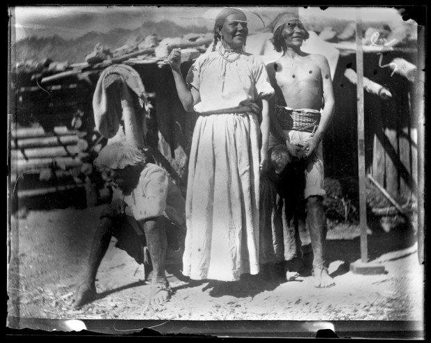Tepehuan Indians outside low buildings, Durango, 1893