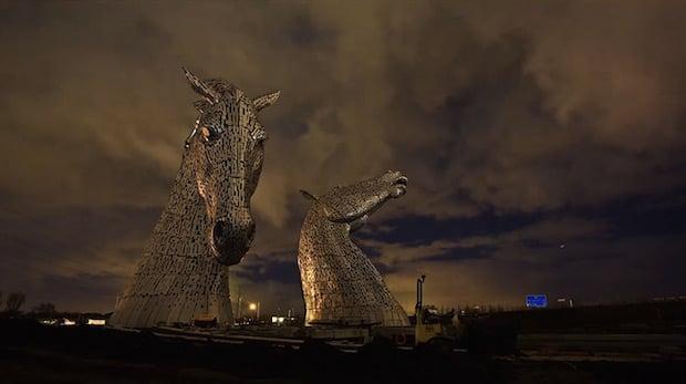 Striking Hyperlapse Captures Construction of the 100ft 'Kelpies' Sculptures in Scotland