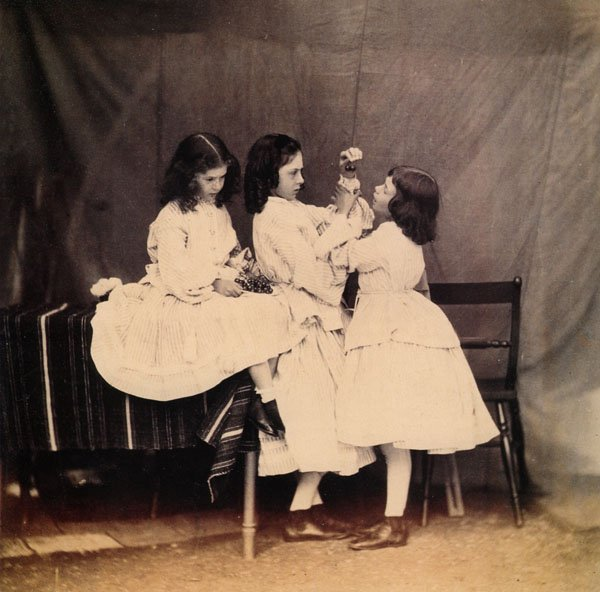 Portrait of Edith (left), Lorina (center) and Alice (right) Liddell. 1860.