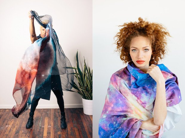 Hubble Space Telescope and Terra Satellite Images Used to Make Beautiful Silk Scarves
