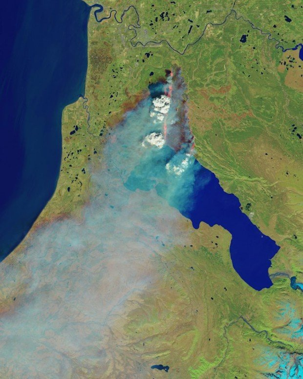 Photo of the Massive Wildfire in Alaska, As Seen from Space