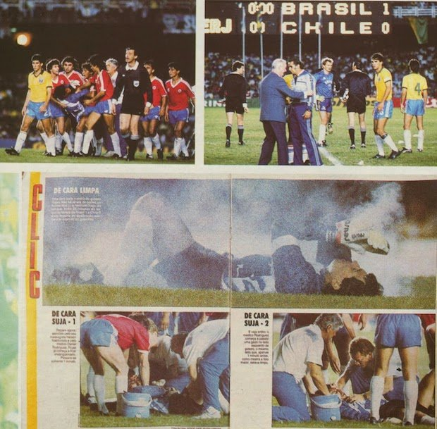 Photo of Brazil's Placar Magazine spread about the incident.