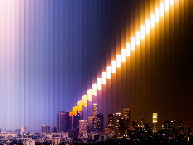 Beautiful Time-Slice and Time-Lapse of the Full Moon Rising Over Los Angeles
