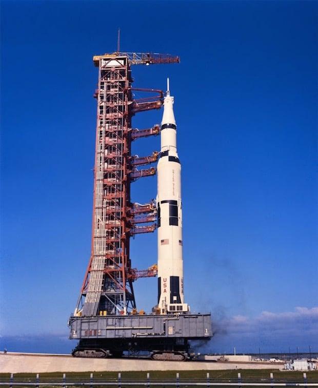 The Saturn 5 crawls towards pad 39a at a whopping 1MPH.