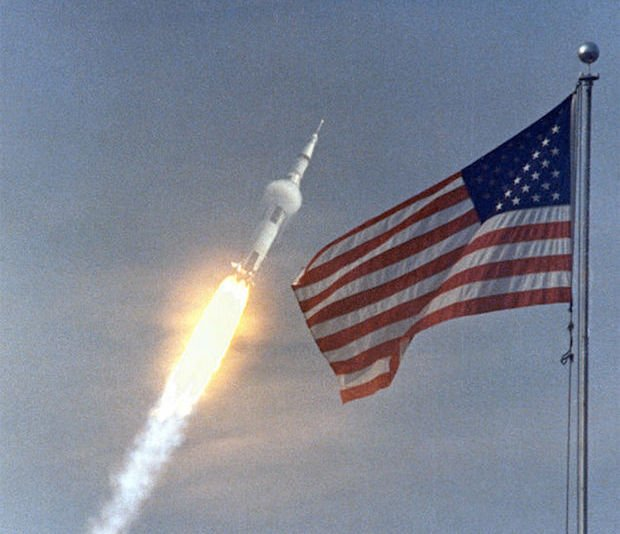 Apollo 11 goes supersonic as it continues to climb outside the Earth's atmosphere.