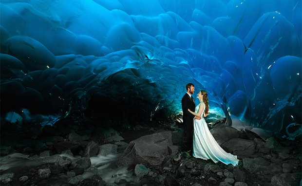 Unique Wedding Photographs Taken Inside an Ice Cave in Alaska