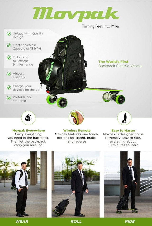 Movpak: Part Gear Bag, Part Electric Skateboard, Part Charging Station, All Awesome