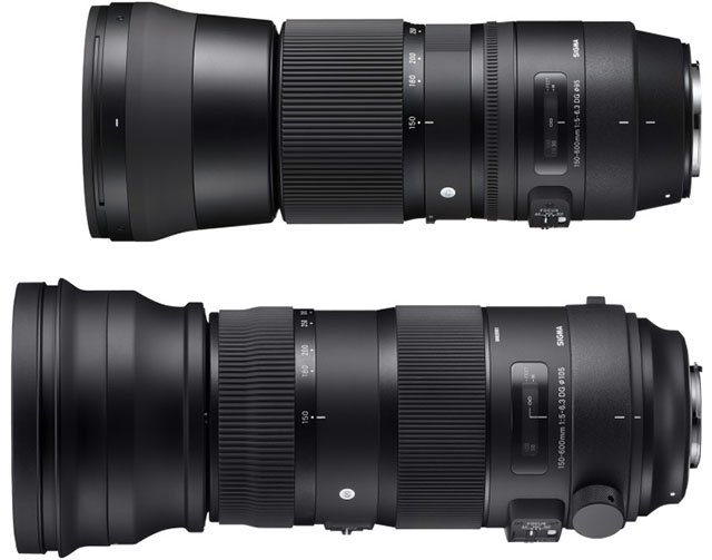 The Sigma 150-600 Contemporary (top) and the 150-600 Sport (bottom)