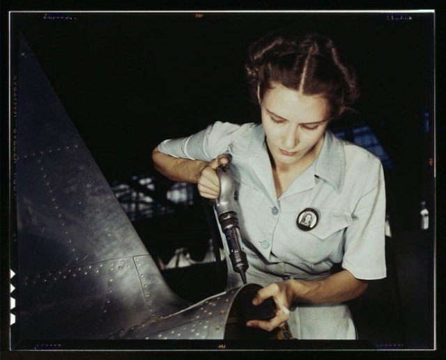 Mrs. Virginia Davis being trained to take over her husband's work, Naval Air Base in Corpus Christi, TX, 1942.