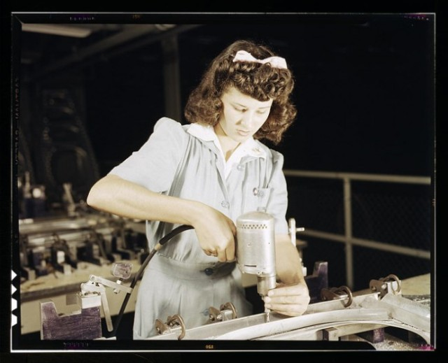 Drilling a wing bulkhead for a transport plane, Consolidated Aircraft Corporation in Texas 1942.