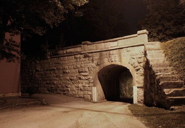 """Follow the Tracks to the First Creek"" Railroad Trestle Bridge; Vernon, Indiana"