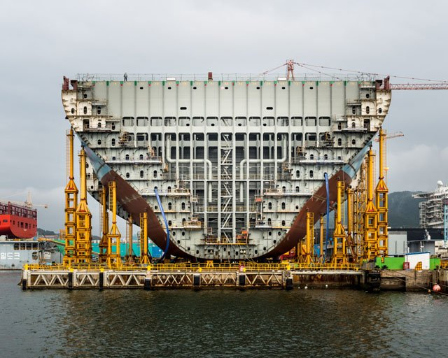 Photos of the Largest Ship in the World Being Built in South Korea