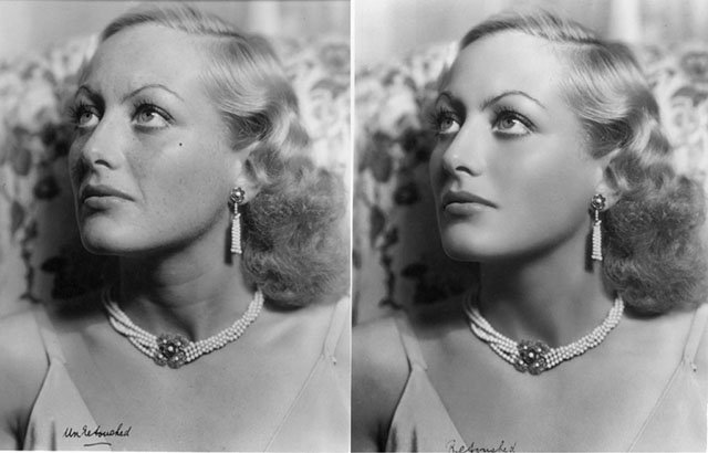 Want to see an early example of beauty retouching in photography heres one the side by side images above from the early 1930s show what a glamour