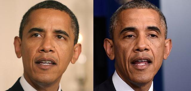 Barack Obama in 2008 and 2014