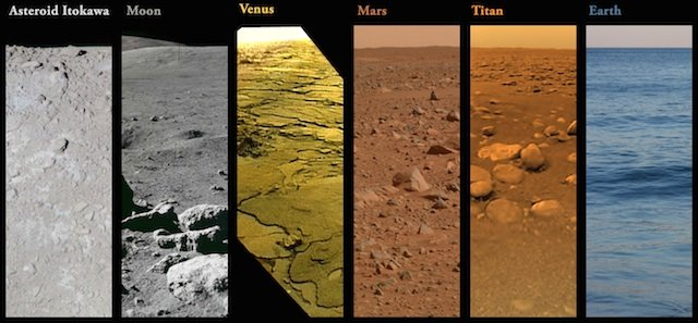 Side-by-Side Pictures Show the Surfaces of Earth, Mars, Venus, Titan, the Moon and an Asteroid