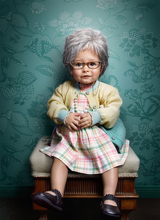 A Quirky Portrait Series that Features 'Elderly Kids'