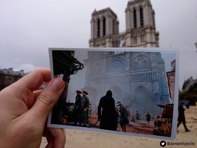 Using Printed Video Game Screenshots to Creatively Juxtapose 1790s and Modern Day Paris