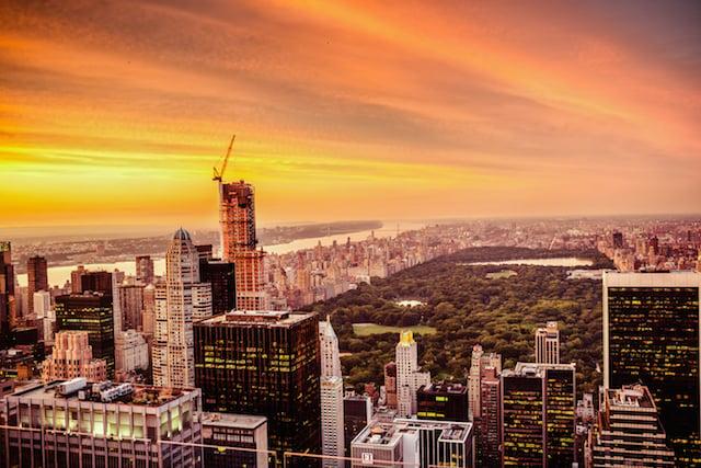 new york city skyline and central park - sunset