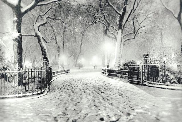 New York City Winter - Snow - Night in Madison Square Park