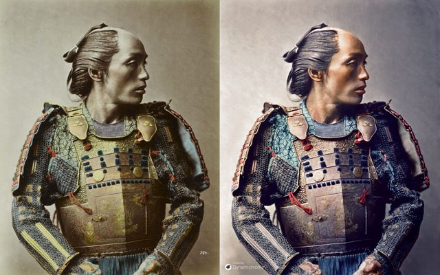 Dynamichrome_Stillfried-Samurai-Looking-Right_1881