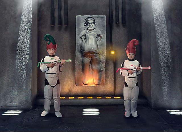 creating a star wars themed christmas card photo of santa in carbonite