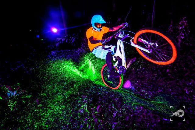 Shooting Bikers at Night with DIY Black Light Flashes and