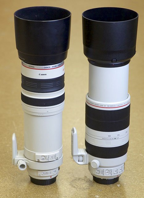 Canon 100-400 IS L (left) and 100-400 IS L Mk II (right) fully extended.