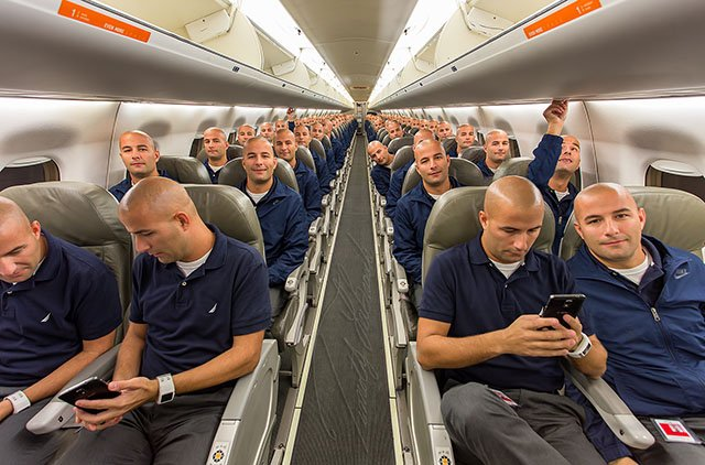 This Guy Captured a 100 Clone Selfie in the Cabin of an Airplane