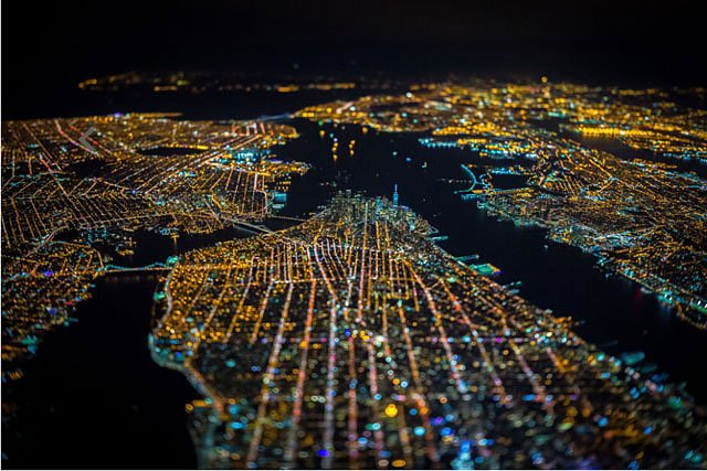Nighttime Photos of NYC Captured Out of the Open Door of a Helicopter at 7,500 Feet