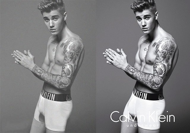Justin Bieber Calvin Klein Before and After