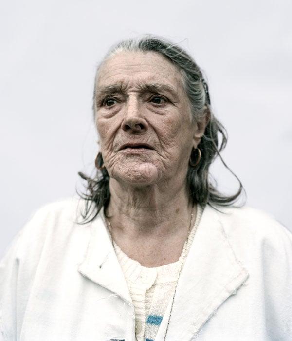 Barbara, Hoxton, wears jacket by Helen Lawrence