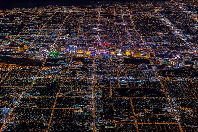 Nighttime Photographs of Las Vegas Captured from a Helicopter at 9,000 Feet