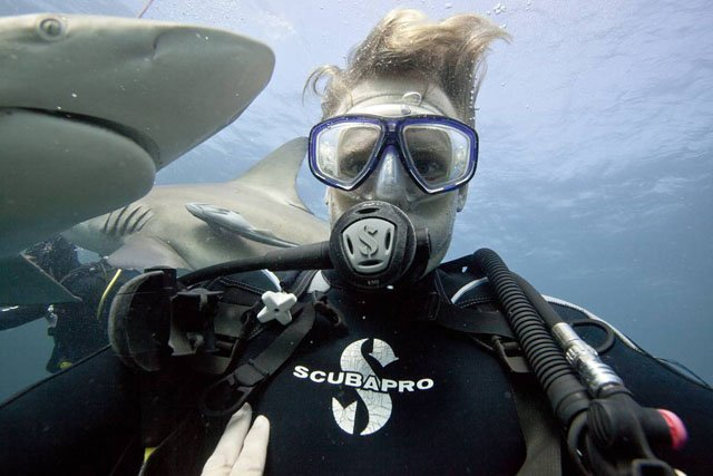 Underwater Photographer Snaps Selfies with Sharks
