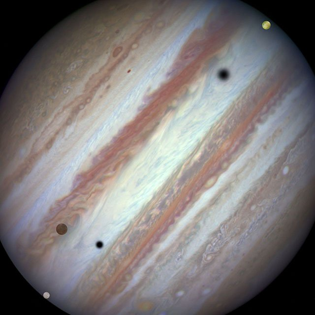 Three moons and their shadows parade across Jupiter — end of e