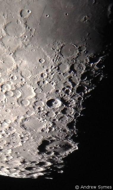 "Lunar closeup captured with an iPhone 4s through an 8"" telescope."