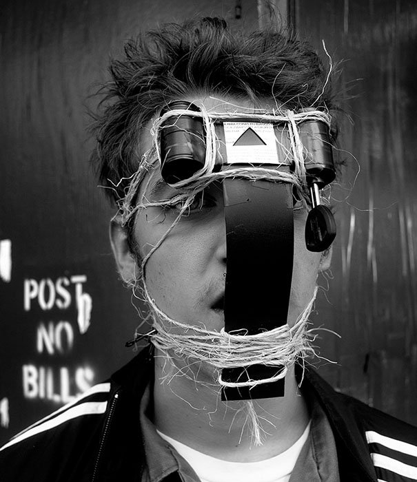 Street Photographs Captured with a Pinhole Camera Strapped to the Face