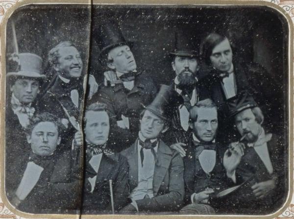 Daguerreotype of a group of intellectuals in Oslo, Norway, c. 1850 [#]