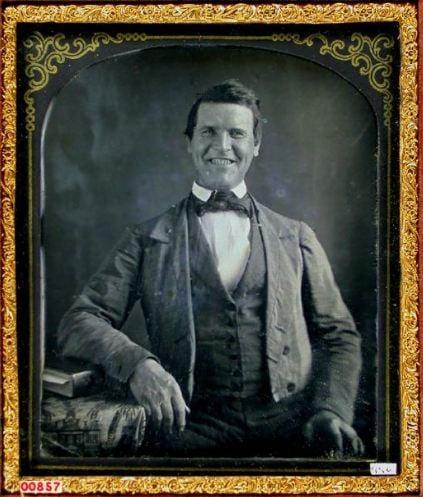 Daguerreotype portrait of man smiling. Unknown, 1850's. [#]