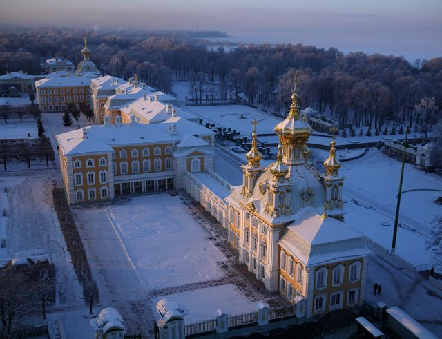 The Palace at Petergof, perched on a bluff overlooking the sea some 30km (19mi) from central Saint Petersburg. In his later years Peter the Great kept a study in the palace from where he could look out to the distant spires of Saint Petersburg, and the island fortress of Kronstadt guarding his new capital.