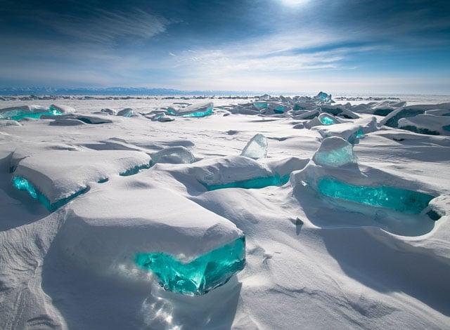 The Gem-Like Turquoise Ice Found on Lake Baikal
